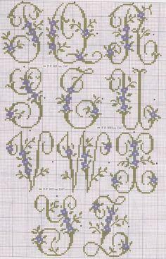 Floral Alphabet in Cross Stitch Cross Stitch Alphabet Patterns, Embroidery Alphabet, Cross Stitch Letters, Just Cross Stitch, Embroidery Monogram, Cross Stitch Charts, Cross Stitch Designs, Stitch Patterns, Cross Stitching