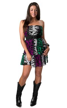 Argee® Women's Multicolor Zebra Print Ruffled with Black Bow Belt Strapless Dress