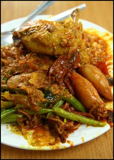 Nasi Kandar - yummy! with all kinds of curry (curry chicken, squid, kangkung, you name it)