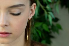 Double Sided Earrings, Geometric Bar Ear Jackets with Rectangular Stud and Connecting Chain, 14K Gold Plated / Gold-filled Earrings