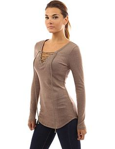 PattyBoutik Womens V Neck Lace Up Curved Hem Tunic Light Brown XL * You can get more details by clicking on the image.Note:It is affiliate link to Amazon.