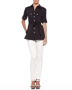 Snap-Button Cargo Tunic & Slim Jeans by Armani Collezioni at Neiman Marcus.