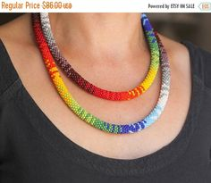 SALE SALE :) Rainbow African Style Necklace, Multicolor Two-Strand Rainbow Necklace, Double-Strand Beadwork Necklace, Zulu Style Necklace
