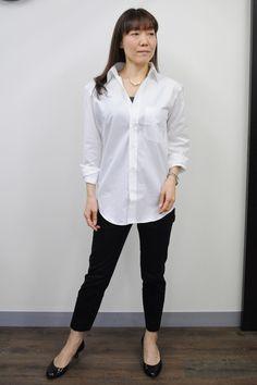 レディース「襟抜き」スタイル!大人の抜け感!マニッシュフェミニンにメンズシャツを着こなす。http://ozie.jp/1SuVJPU