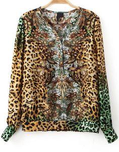 Leopard Print V Neck Chiffon Blouse