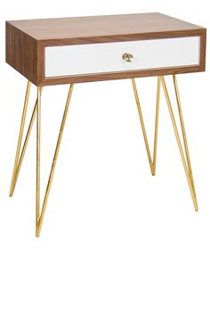 Nightstands, Elegant Rosewood Gold Leaf Hairpin Legged Bedside Table, so beautiful, inspire your friends and followers interested in luxury interior design, with new trending accents from Hollywood courtesy of InStyle Decor Beverly Hills, Luxury Designer Furniture, Lighting, Mirrors, Home Decor & Gifts, over 3,500 inspirations to choose from and share with our simple one click Pinterest Pin button enjoy & happy pinning