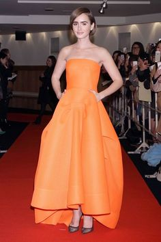 Best dressed - Lily Collins in an orange strapless dress
