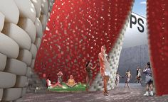 hy-fi the living MoMA PS1 - Organic and reflective bricks  which are the main materials manufactured through a combination of corn stalks and specially developed living root structures