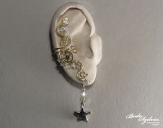 TIMELESS STAR  steampunk brass and silver ear cuff on Etsy $21.50