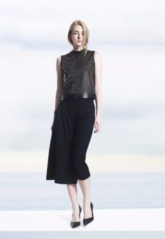 COLE-COOL-Women-039-s-Two-Way-Sequin-Vest-with-Black-Lambskin-Leather-Binding