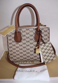 ecc0bc81421f NWT MICHAEL KORS Medium Natural MK MERCER LOGO Messenger Crossbody Bag