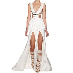 This dress gives me convulsions. Its only 3 months rent lol. Herve Leger, have a sale & I will love you forever! White Bandage Dress, Bandage Dresses, Herve Leger Dress, Goddess Costume, Party Dresses For Women, White Outfits, White Women, Online Shopping Clothes, Gowns