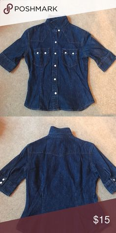 Denim button down. Half sleeves. Dark blue denim jacket. Two chest pockets. Barely worn. Half sleeves. With a collar. 100% cotton. Great condition. Guess Tops Button Down Shirts