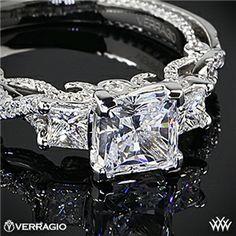Verragio Beaded Braid Princess 3 Stone Engagement Ring #Whiteflash #Verragio