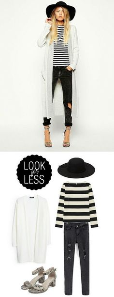 white long knit sweater, striped shirt, black hat and snake skin heeled sandals; whole outfit including accessories for under $150 #shop #style