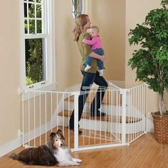 KIDCO Auto Close Configure Gate Kidco Inc. White Auto Close Configure Gate provides maximum safety for use in any extra wide or oddly-shaped area Australian Shepherd Husky, Blue Merle, Pitbull, Child Safety Gates, Pet Gate, Dog Gates, Gate 2, Stair Gate, Baby Safety
