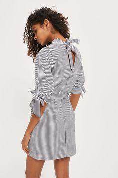 Stripe Poplin High Neck Shirt Dress