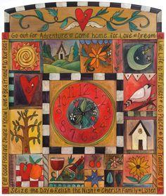 PAINTED CLOCK - STICKS Clock Painting, Clock Art, Fabric Painting, Painting On Wood, Whimsical Painted Furniture, Hand Painted Furniture, Sticks Furniture, Cool Clocks, Vivid Imagery