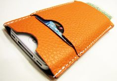 The World In Your Pocket 3. Personalized iPhone 4 Case, Card Holder & Wallet in Hermes-Orange Calfskin, $44
