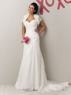 Elegant Organza Sweetheart Spring Summer Designer Flower Wedding Dress