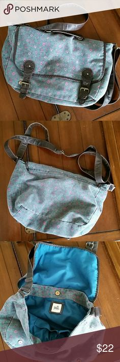 "Pac Sun satchel Cute faded denim and faux leather style satchel. Measures 17.5"" wide by 11"" long. Strap is adjustable to wear as a long crossbody.  Metallic snap closures. Handle at the top of the bag to carry if desired. Inside teal color with a few pockets. Still in good condition. Black Poppy Bags Satchels"