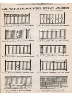 "wrought iron fence ideas original c. 1929 e. barnum iron & wire works softbound ""no. 750 hardware catalog"" featuring iron fencing, window guards, fire escapes and other iron ornament Front Porch Railings, Wrought Iron Stair Railing, Metal Stairs, Metal Railings, Wrought Iron Fences, Balcony Grill Design, Balcony Railing Design, Balustrades Avant, Iron Gate Design"