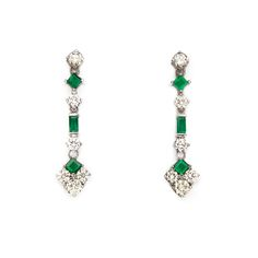 Lot 961 A PAIR OF EMERALD AND DIAMOND PENDANT EARRINGS  R 35 000 - 60 000 Pendant Earrings, Drop Earrings, October 2014, Cape Town, Diamond Pendant, Emerald, Auction, Pairs, Fine Art