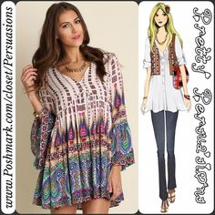 """NWT Printed Bell Sleeve Boho Peasant Dress Tunic NWT Printed Bell Sleeve V-Neck Boho Peasant Dress Tunic  Available in sizes S, M (L sold out) Measurements taken from a size small  Length: 35"""" Bust: 39"""" Waist: 35"""" Hips: 46""""  Features  • v-neckline  • button front detail • multicolored boho print • bell sleeves • soft, breathable material  • relaxed, easy fit  Cotton blend   Bundle discounts available  No pp or trades  Item # 1o1-5•12-0360MCMD Pretty Persuasions Dresses"""