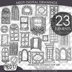 Windows Doodle Clip Art Window Clipart Digital Images PNG by Nedti