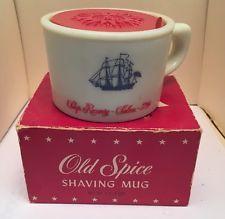 Old Spice Shaving Mug Vintage Stuff, Unique Vintage, Retro Vintage, Manly Things, Old Things, Old Spice, Wet Shaving, Old Ads, Vintage Games