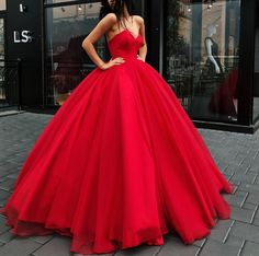 Ball Gown Red Prom Dresses, Sexy Tulle Quinceanera
