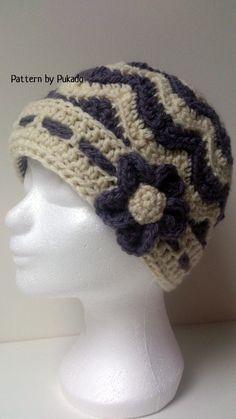 Crochet Chevron Winter Hat plus Bonus free patterns by Pukado