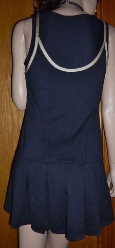 Womens K-SWISS black with tan trim SPF 40+ protection tennis dress size M #KSWISS #SkirtsSkortsDresses