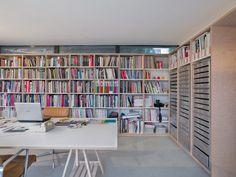 Clerestory windows in Tyler's design studio provide plenty of light, while built-in bookshelves and flat files offer ample storage.