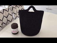 Penye ip ile çanta yapımı ( spagetti yarn XXLace) -1 - YouTube