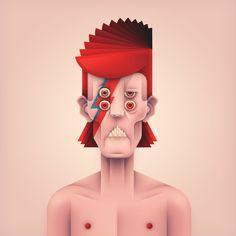 Kamil Białogrzywy, un ilustrador polaco que tiene un estilo vectorial bastante peculiar emprendió un proyecto donde escogió 4 portadas de sus discos favoritos (Dawid Bowie - Aladdin Sane, Kraftwerk - The Man Machine,Michael Jackson - ThrilleryRoxy Music - Country Life)