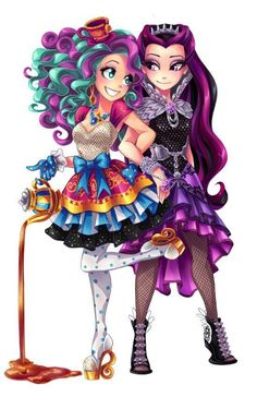 ever after high - Maddie Hatter and Raven Queen Arte Monster High, Ever After High Rebels, Chibi Coloring Pages, Monster High Characters, Chica Cool, Art Manga, Anime Art, Raven Queen, Kawaii Drawings