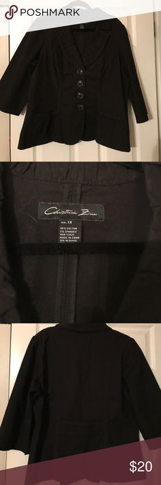 Black cotton jacket 3/4 sleeve black cotton jacket. NWOT. Ruched detail on lapels and pockets. Jackets & Coats Blazers