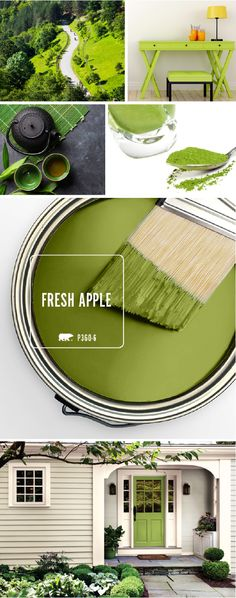 Front door color idea: Fresh Apple is a vibrant, modern green hue that looks great when paired with light grays, beiges, or creams. This playful green shade will bring a burst of bright color to your home just in time for spring. Exterior Paint Colors For House, Paint Colors For Home, Exterior Colors, House Colors, Paint Colours, Green Front Doors, Front Door Colors, Wall Colors, Interior Design Minimalist