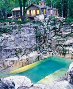 I am not into cheezy plastic hot tubs....but I could do this.. limestone quarry