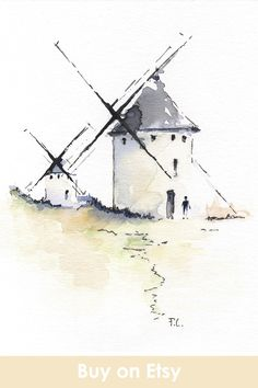 Spanish Windmills Watercolor Artprint - - Watercolor Artprint of the traditional Castilla windmills. Don Quixote land! You will get an art print printed on high quality poster matte paper. Architecture Drawing Art, Watercolor Architecture, Watercolor Landscape, Paper Architecture, Watercolor And Ink, Watercolour Painting, Watercolours, Art Sketches, Art Drawings
