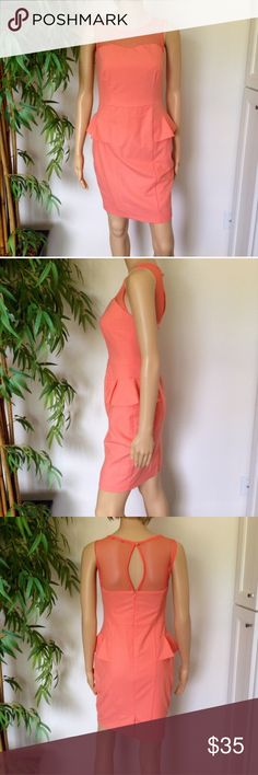 Mohito Orange Mesh Peplum Dress size small Brand is Mohito size small Peplum and mesh details perfect for summer events ❌No Trades❌ Zara Dresses Midi