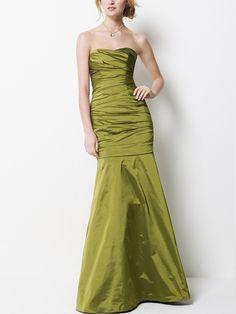 Taffeta Strapless Long Bridesmaid Dress with Full Floor Length Skirt