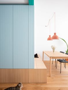 Built In Furniture, Space Saving Furniture, Room Interior, Interior Design, Half Walls, Multifunctional Furniture, Terrazzo Flooring, Built In Bench, Built In Wardrobe