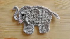 Ravelry: Crochet elephant applique pattern by Julia Marquardt Appliques Au Crochet, Crochet Applique Patterns Free, Crochet Motif, Crochet Flowers, Ravelry Crochet, Free Pattern, Knitting Patterns, Crochet Elephant Pattern Free, Ravelry Free
