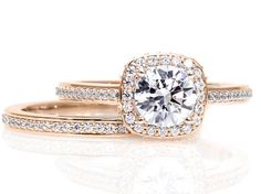 moissanite rose gold wedding band - Google Search