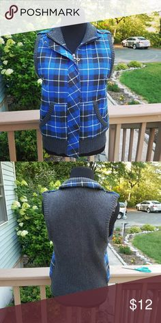 NWOT Blue Checkered Vest Like new Condition. Size 4. Jackets & Coats Vests