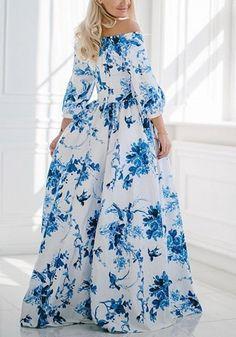 Blue Floral Print Boat Neck 3/4 Sleeve Fashion Maxi Dress