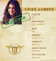 Kriss Ambers Casta: Três Província: Columbia Idade: Dezoito anos Cor do cabelo: Castanho Cor dos olhos: Castanhos