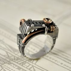 "Silver Mens Ring Handmade Steampunk Industrial ""Oppugnarendum"". on Etsy, $350.00"